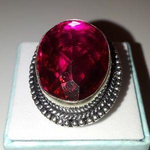Jewelry - 925 Silver pink topaz gemstone ring size 8